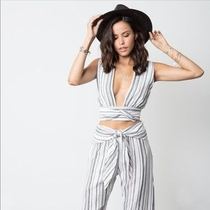 Stillwater striped belted crop top